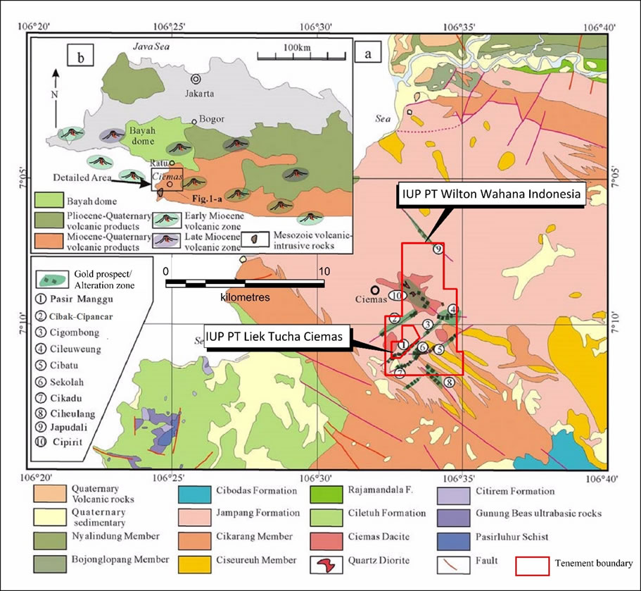 Figure 1: Geological Setting and Mineralised Zones, Ciemas Gold Project